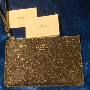Coach black Glitter Collection wristlet
